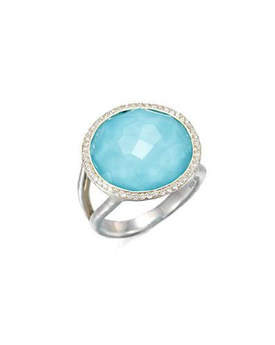 Ippolita Stella Turquoise, Clear Quartz, Diamond & Sterling Silver Medium Doublet Cocktail Ring