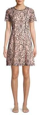Kensie Two-Tone Floral Lace A-Line Dress