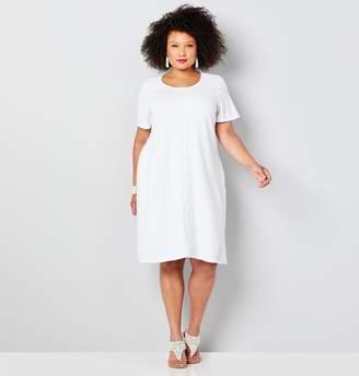 Avenue Textured A-Line Dress With Lace Trim