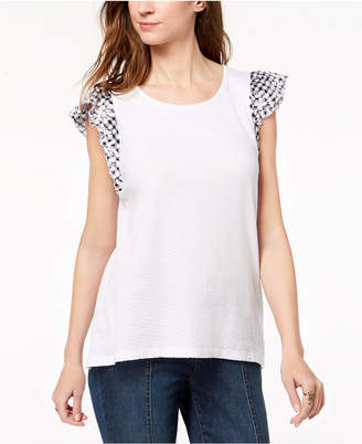 Style&Co. Style & Co Jacquard Cap-Sleeve Top, Created for Macy's