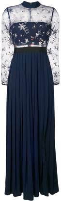 Self-Portrait star embroidered pleated gown