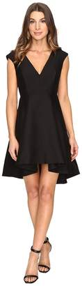 Halston Cap Sleeve V-Neck Structured Dress with Hi-Lo Skirt Women's Dress