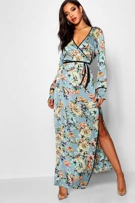 boohoo Satin Kimono Style Maxi Dress