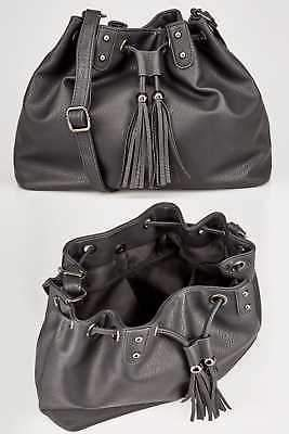Yours Clothing Womens Drawstring Across-the-body Bag With Tassel Detail & Extended Strap