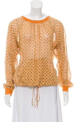 Marc Jacobs Floral-Printed Long Sleeve Blouse Orange Floral-Printed Long Sleeve Blouse