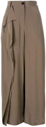 Isabel Benenato ruffled detail straight trousers