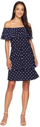 Lauren Ralph Lauren R4 Classic Dot Lorelei Short Sleeve Day Dress Women's Dress