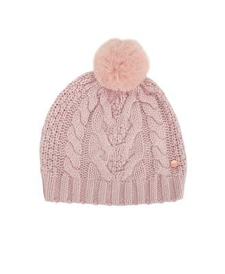 Ted Baker Cable Knit Pom Pom Hat Colour: DUSKY PINK, Size: One Size