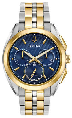 Bulova Chronograph Curv Collection Two-Tone Stainless Steel Watch