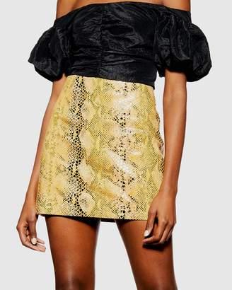 Topshop Snake Leather Mini Skirt