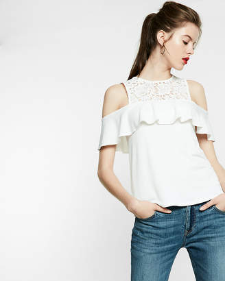 Express Cold Shoulder Lace Ruffle Top
