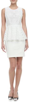 Catherine Malandrino Bettina Patterned Peplum Dress