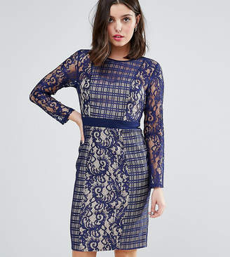Little Mistress Petite Long Sleeve Contrast Lace Shift Dress