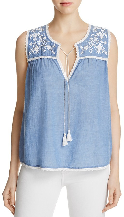 BeachLunchLounge Embroidered Chambray Tank