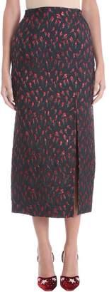 ATTICO High Waist Rose Jacquard Midi Skirt