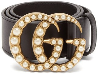 Gucci Gg Faux Pearl Embellished Leather Belt - Womens - Black