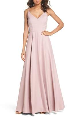 Paige Hayley Occasions Cutout Crepe A-Line Gown