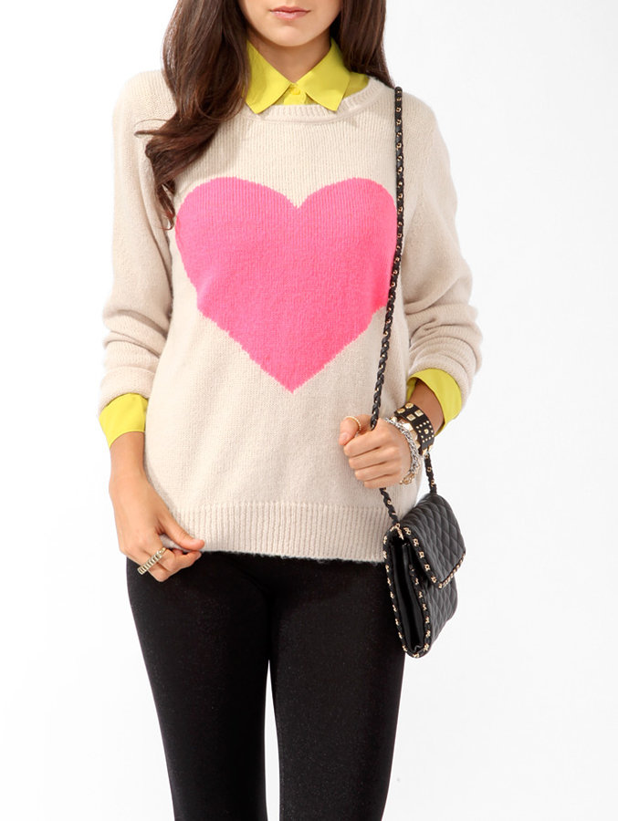 Forever 21 Longline Big Heart Sweater