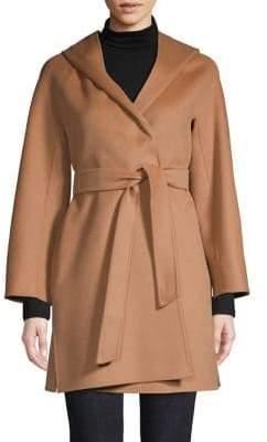 Max Mara Hooded Wool, Silk Cashmere Coat