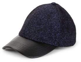 Steve Madden Faux-Leather Tweed Baseball Cap