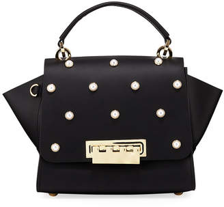 Zac Posen Eartha Pearly Leather Crossbody Bag, Black