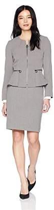 Tahari by Arthur S. Levine Women's Petite Round Neck Zip Front Pleated Peplum Skirt Suit