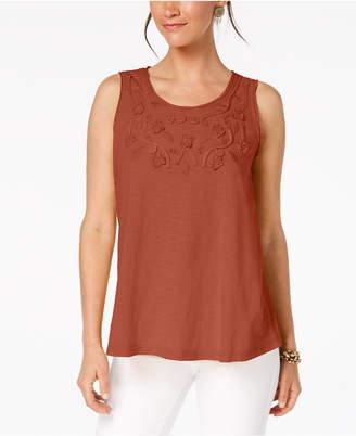 Style&Co. Style & Co Cotton Soutache-Trim Tank Top