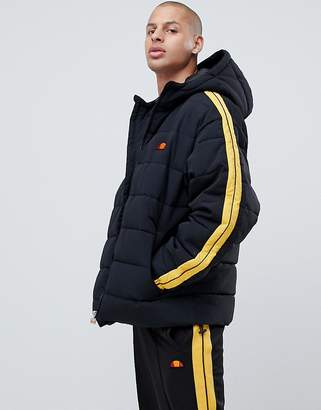 Ellesse Spinello Puffer Jacket With Sleeve Stripe In Black