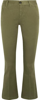 Frame Crop Cotton-blend Flared Pants - Army green