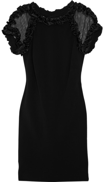 Mikael Aghal Mesh-detailed crepe dress