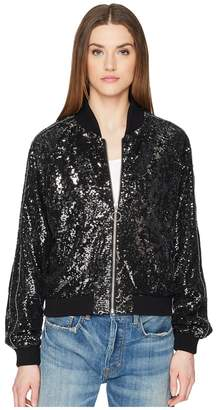 The Kooples Sequin Fabric Jacket with Contrasting Piping Women's Coat
