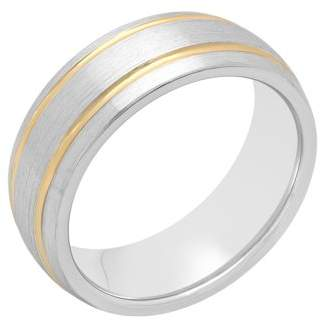 Unbranded Mens Cobalt with Gold-Tone IP Striped Wedding Band Ring