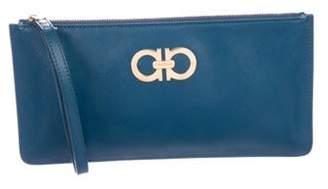 Salvatore Ferragamo Leather Gancini Wristlet Blue Leather Gancini Wristlet