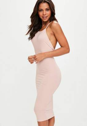 Missguided Nude Low Back 90s Neck Bodycon Midi Dress