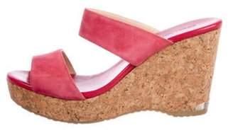 Jimmy Choo Suede Wedge Sandals Magenta Suede Wedge Sandals