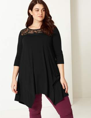 Marks and Spencer CURVE Lace Round Neck 3/4 Sleeve Top