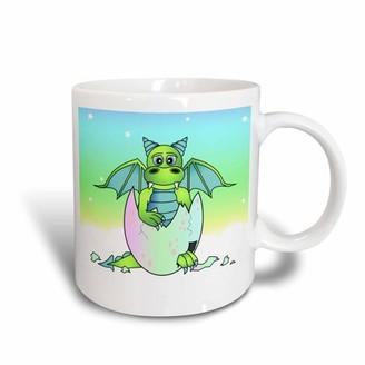 Green Baby 3dRose Dragon in Cracked Egg, Ceramic Mug, 15-ounce