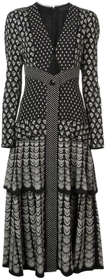 Block Print Long Sleeve Dress