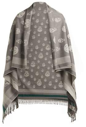 Alexander McQueen Skull Wool And Cashmere Blend Shawl - Womens - Silver