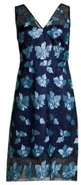 Elie Tahari Pearl Embroidered Tulle Dress
