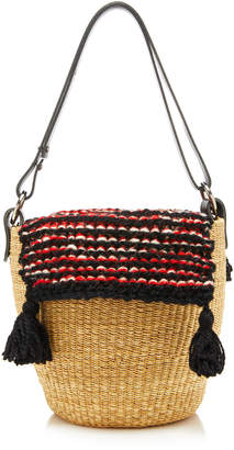 Muun Benedicte Leather-Trimmed Tasseled Crochet-Knit And Straw Tote