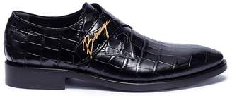 Balenciaga 'City Evening' monk strap croc embossed leather loafers