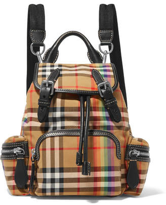 Burberry Printed Cotton-canvas And Leather Backpack - Beige