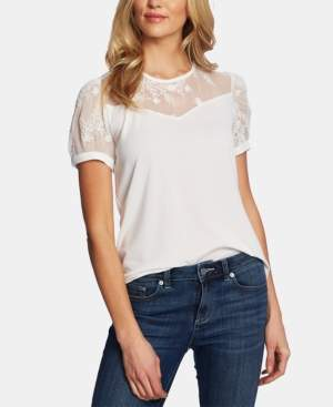 CeCe Puffed-Sleeve Mixed Media Top