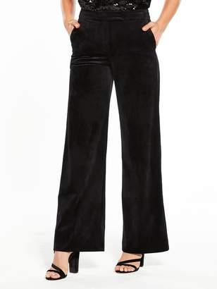 Very Velvet Wide Leg Trousers - Black
