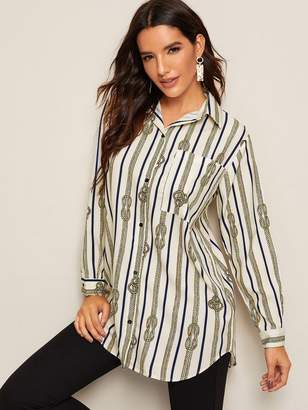 Shein Ropes Print Curved Hem Trim Button Front Blouse
