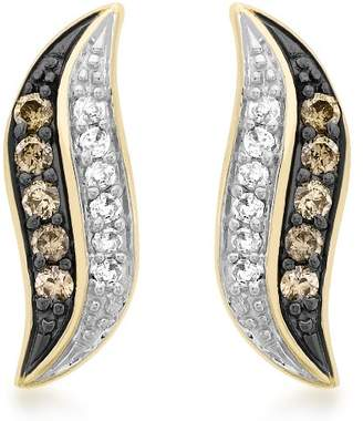 Carissima Gold 9ct Yellow Gold 0.30ct Brown and White Diamond Double Crossover Stud Earrings SIKIP