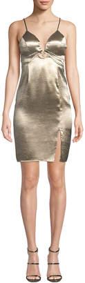 Astr Hammered Charmeuse Metallic Sheath Dress