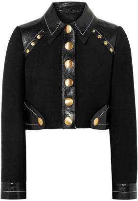 Proenza Schouler Cropped Studded Wool-blend And Patent-leather Jacket - Black