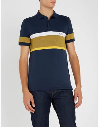 BOSS Stripe-patterned cotton-jersey polo shirt